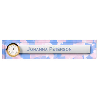 Pink and Blue Confetti Nameplate