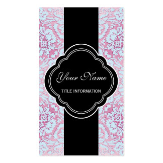 Pink and Blue Damask Design Business Card Templates