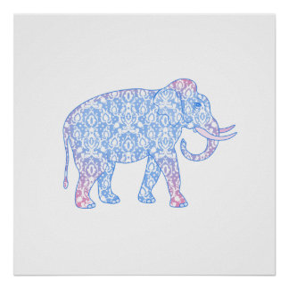 Pink and Blue Damask Elephant Poster