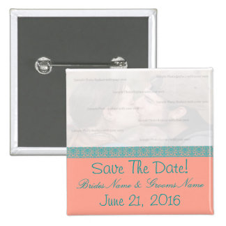 Pink and Blue Damask Save The Date Button