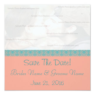 Pink and Blue Damask Save The Date 5.25x5.25 Square Paper Invitation Card