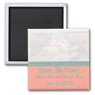 Pink and Blue Damask Save The Date Magnet