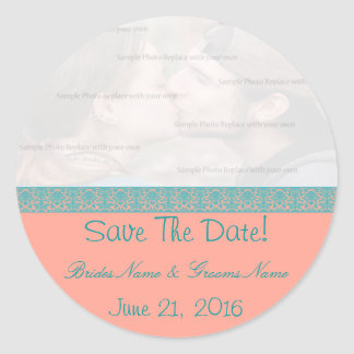 Pink and Blue Damask Save The Date Stickers