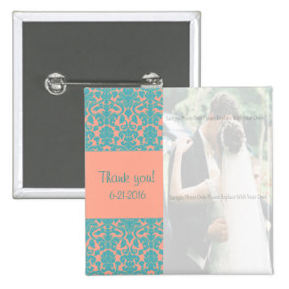 Pink and Blue Damask Thank You Button