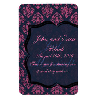 Pink and Blue Damask Thank You Wedding Favor Rectangular Photo Magnet