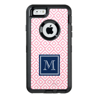 Pink and Blue Diamonds Pattern Monogrammed OtterBox Defender iPhone Case