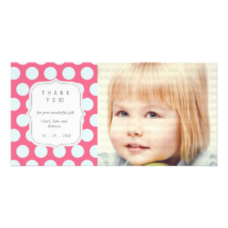 Pink and Blue Dots - Any Occasion Thank you Customised Photo Card