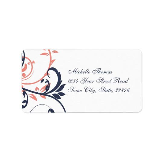 Pink and Blue Double Floral Address Label
