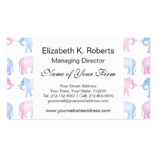 Pink and Blue Elephant Baby Shower Business Card Template