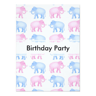 "Pink and Blue Elephant Baby Shower 5.5"" X 7.5"" Invitation Card"