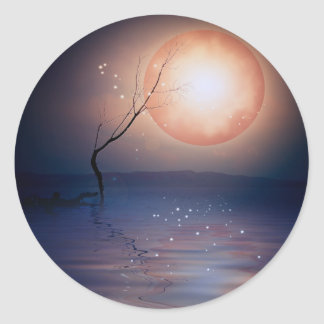 Pink and Blue Fantasy Sparkling Moon over water Classic Round Sticker