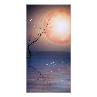 Pink and Blue Fantasy Sparkling Moon over water Photo Card