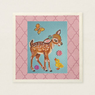 Pink and Blue Fawn Duckling Baby Shower Napkins Disposable Serviettes