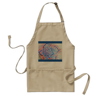 Pink and blue floral mandala standard apron