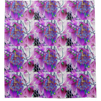 Pink And Blue Flower Print Shower Curtain