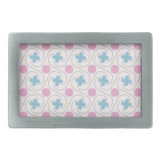Pink and blue flower tessellation rectangular belt buckles