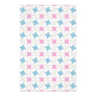 Pink and blue flower tessellation stationery