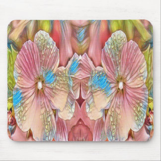 pink and blue flowers mouse pad