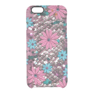 Pink and Blue Flowers Textile Design by Zona Clear iPhone 6/6S Case