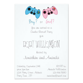 Pink and Blue Game Controllers Baby Gender Reveal Card
