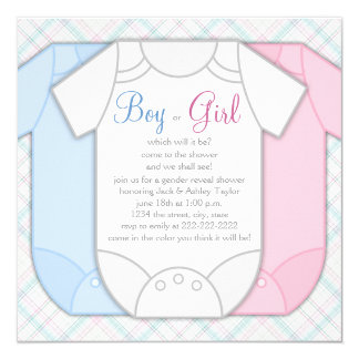 Pink and Blue Gender Reveal Baby Shower 13 Cm X 13 Cm Square Invitation Card