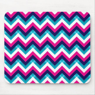 Pink and Blue Geometric Chevron Pattern Mouse Pad