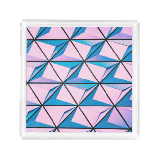 Pink and Blue Geometric Pattern Acrylic Tray