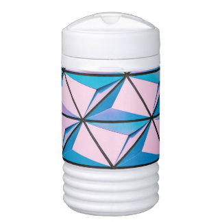 Pink and Blue Geometric Pattern Cooler
