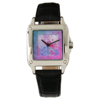 Pink And Blue Glitter Abstract Watch
