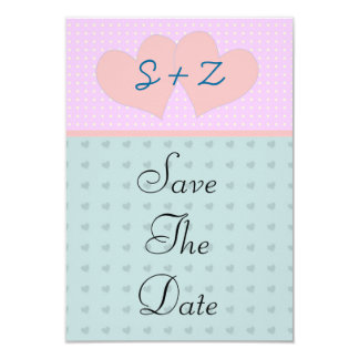 Pink and blue  hearts initialled save the date 9 cm x 13 cm invitation card