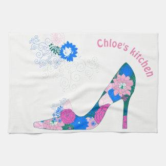 Pink and Blue High Heel Shoe Tea Towel