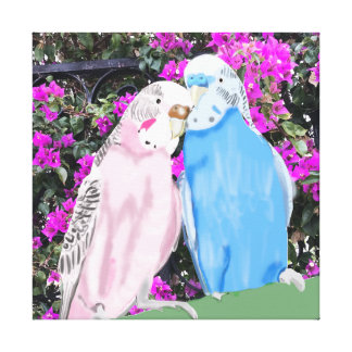Pink and Blue Kissing Budgies and Bougainvillea Canvas Print