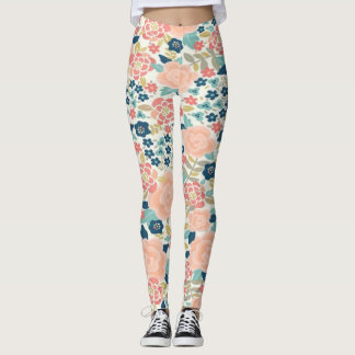 Pink and Blue love Flowers Leggings