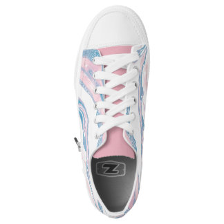 Pink and blue marbled girly design low tops