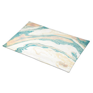 Pink and blue marbling watercolor design placemat