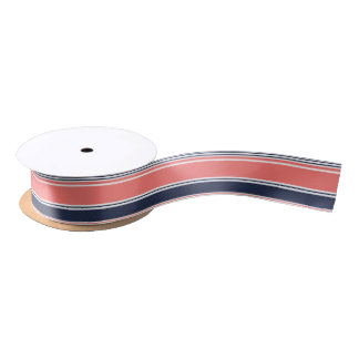 Pink and Blue Modern Stripes Satin Ribbon
