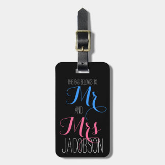 Pink and Blue Mr and Mrs Luggage Tag