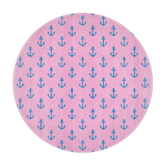 Pink and Blue Nautical Anchor Pattern Cutting Board