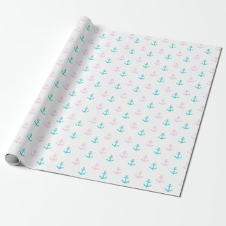 Pink and Blue Nautical Anchors Gift Wrap