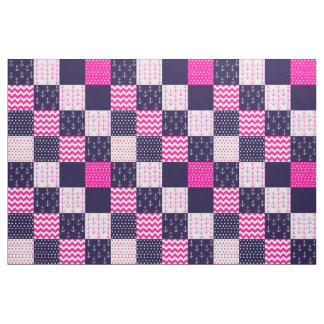 Pink and Blue Nautical Material Fabric