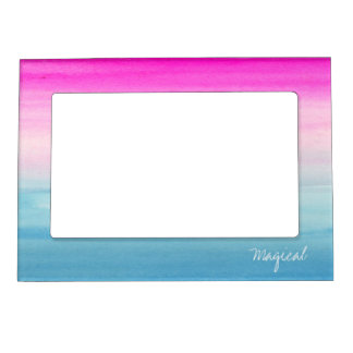 "Pink and Blue Ombre Watercolor ""Magical"" Magnetic Picture Frame"