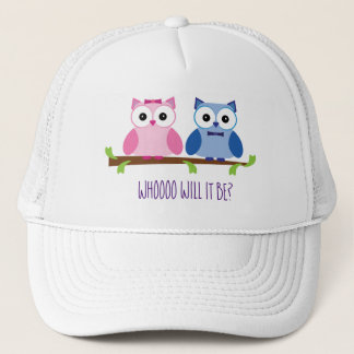 Pink and Blue Owls Gender Reveal Shower Trucker Hat