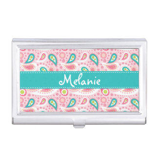 Pink and Blue Paisley Monogram Business Card Holder