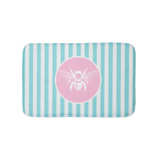Pink and Blue Pastel Stripe White Bee Bath Mats