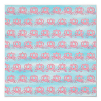 Pink and Blue Pattern of Princess Carriages Posters