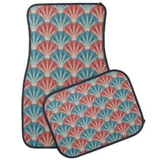 Pink and Blue Peacock Feathers Set of 4 Car Mats
