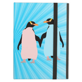 Pink and blue Penguins holding hands iPad Air Case