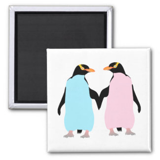 Pink and blue Penguins holding hands. Square Magnet