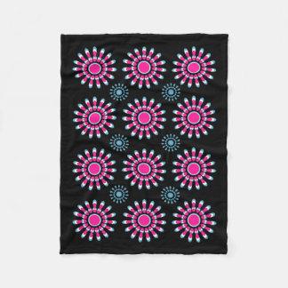 Pink and Blue Pinwheel Flowers Fleece Blanket