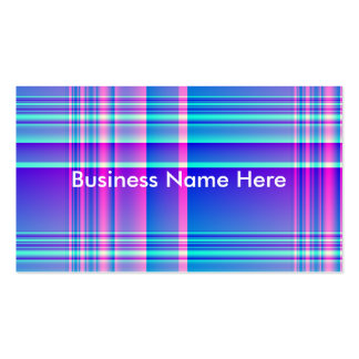 Pink and Blue Plaid Business Cards